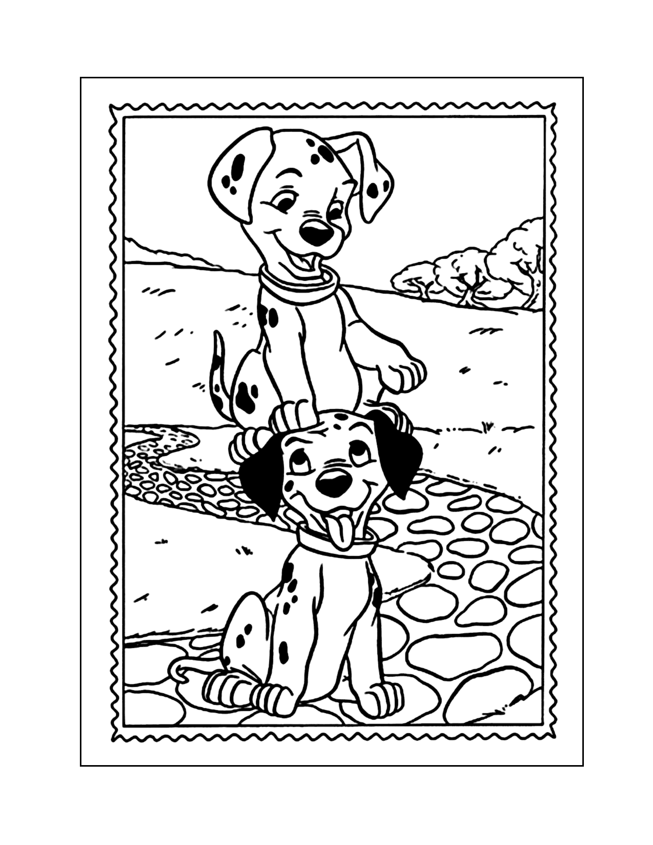 Playful Dalmatian Puppies Coloring Page
