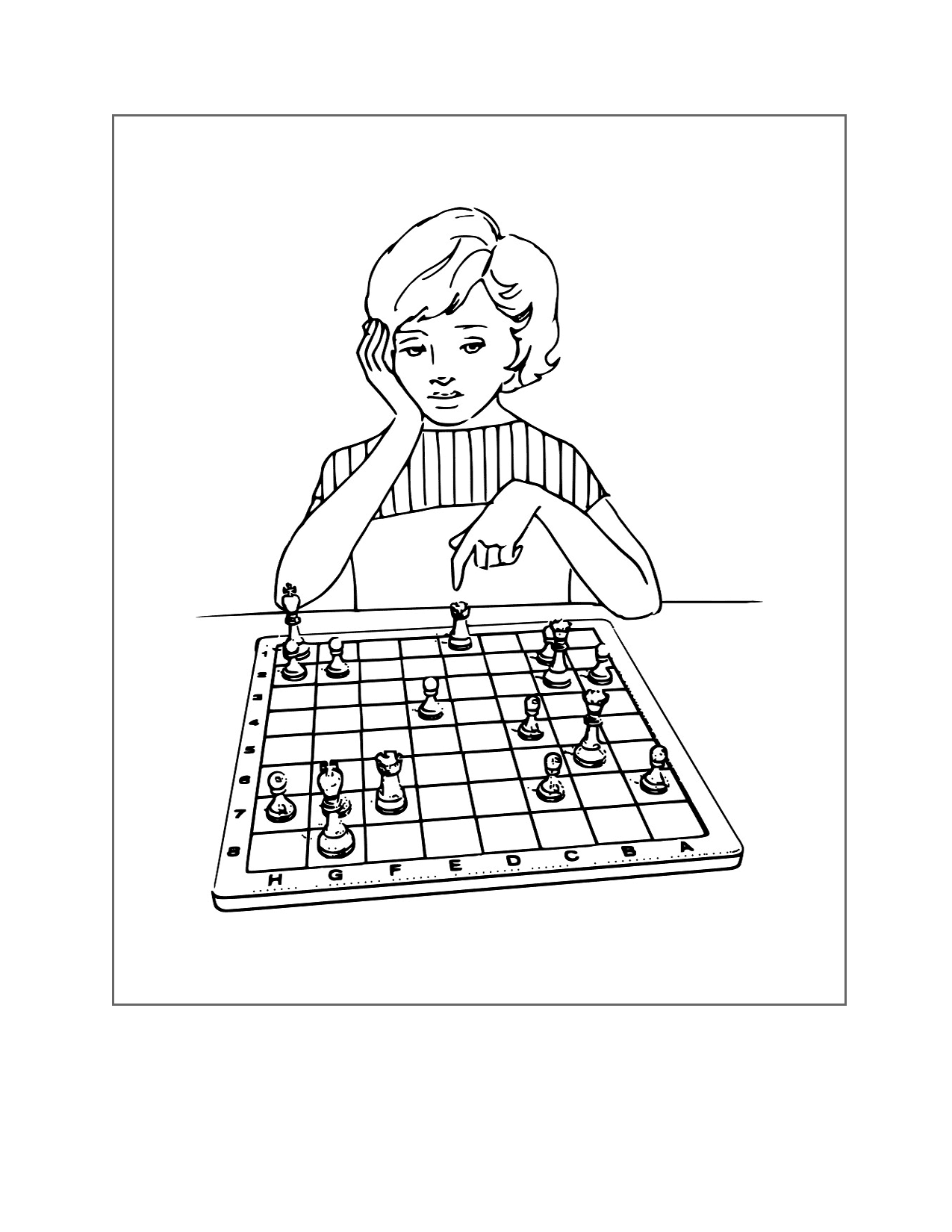 Playing Chess Coloring Page