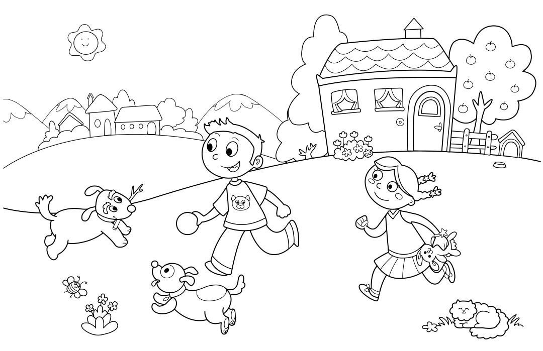 Playing Kids Kindergarten Coloring Page
