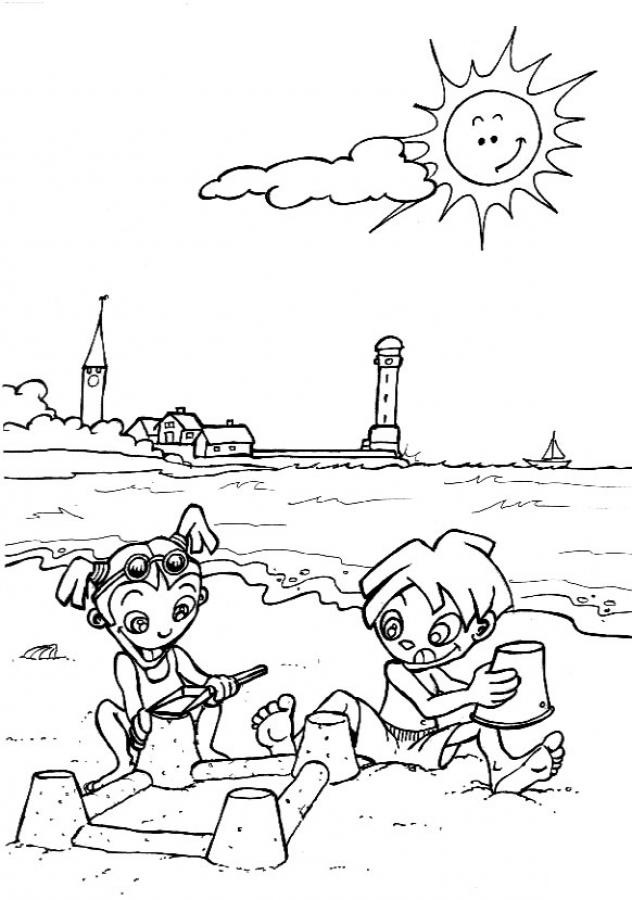 Playing on the Beach Coloring Page