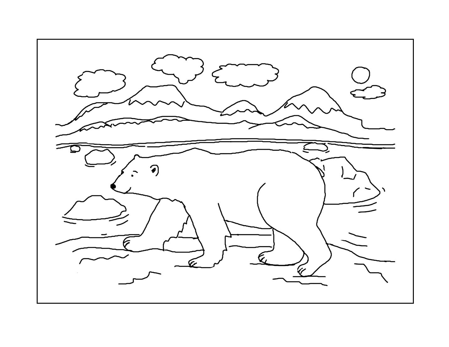 Polar Bear Arctic Scene Coloring Page