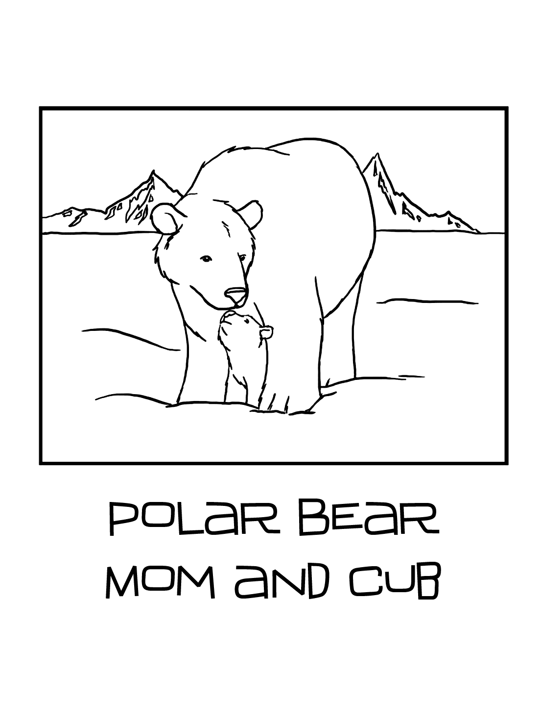 Polar Bear Mom And Cub Coloring Page