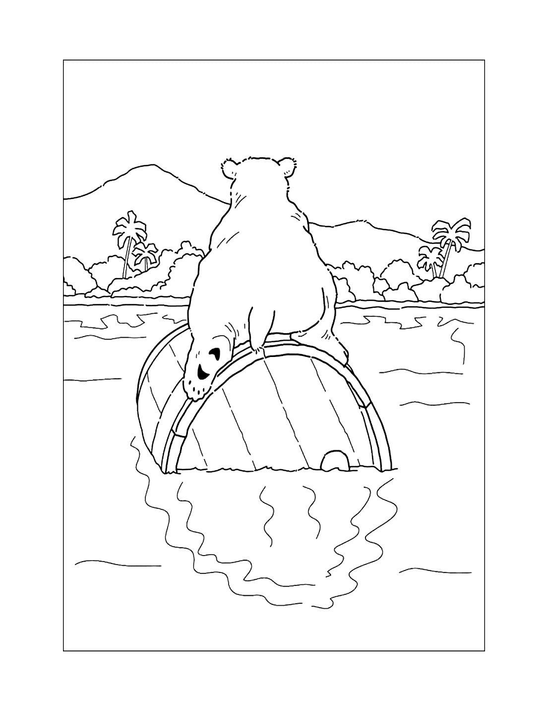 Polar Bear On A Barrel Coloring Page
