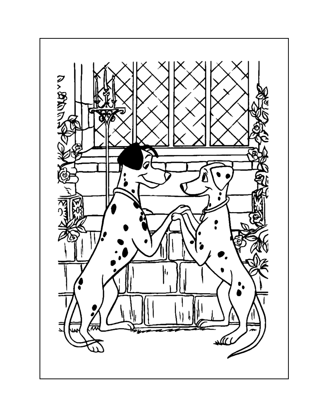 Pongo And Perdy In Love Coloring Page