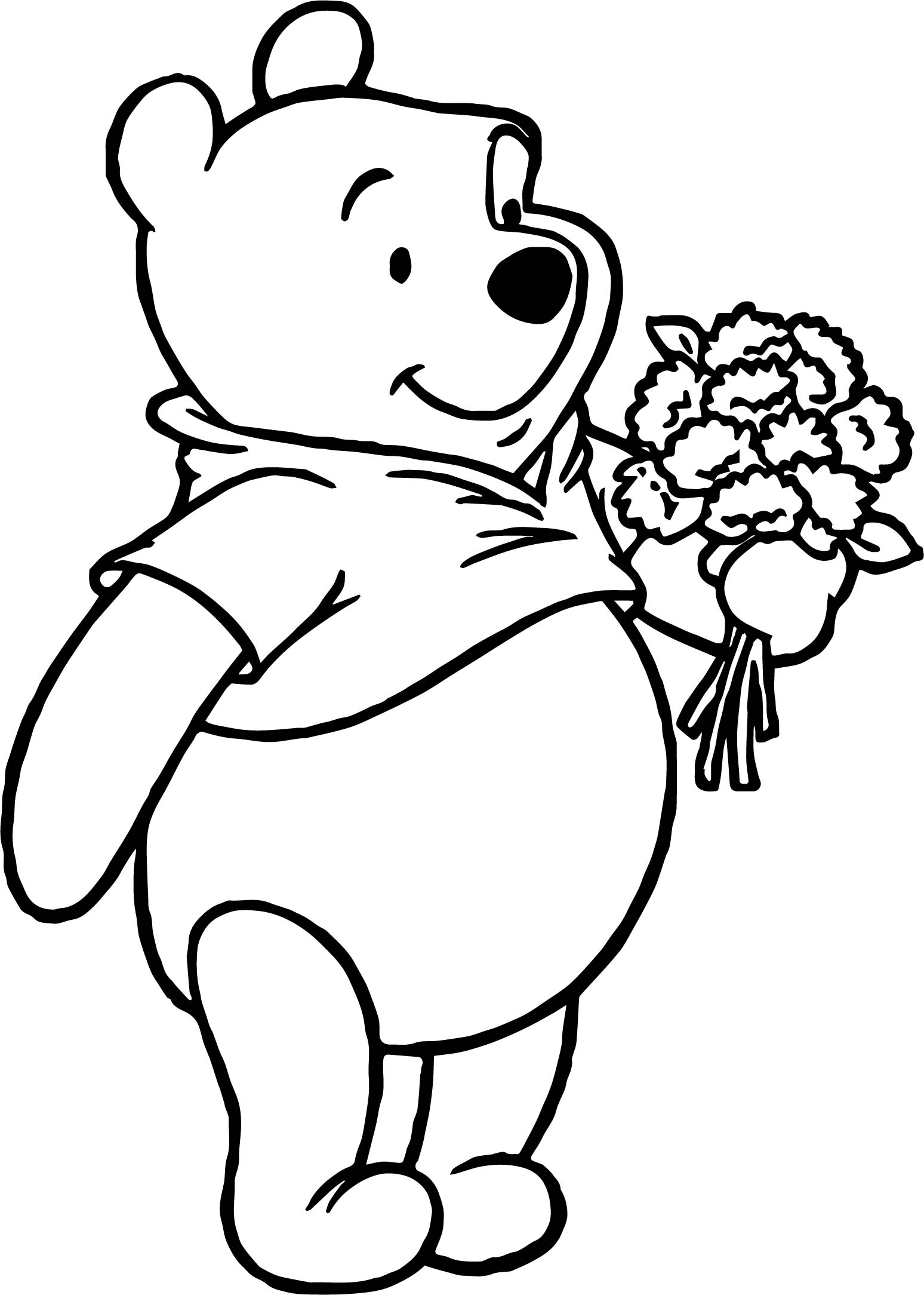 Pooh Loves Flowers Coloring Page
