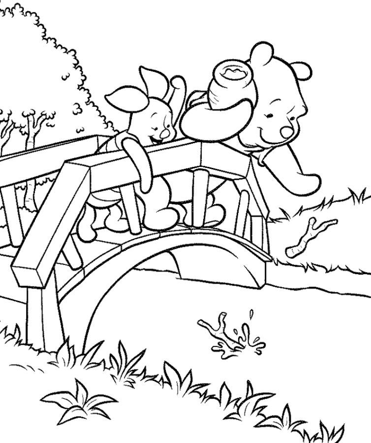 Pooh and Piglet Stream Test Coloring Page
