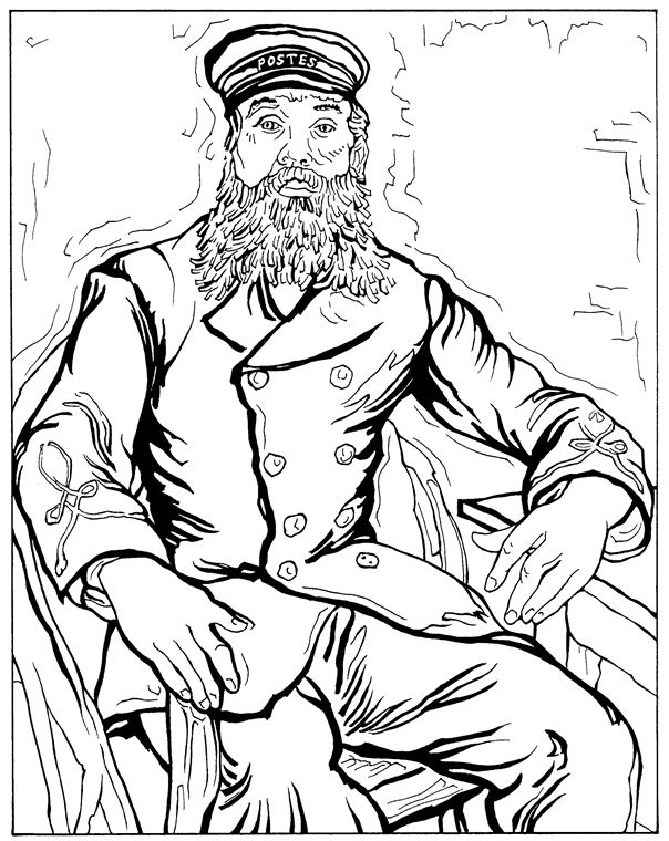 Postman Joseph Roulin Van Gogh Coloring Pages