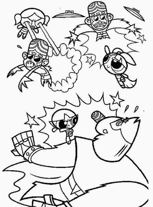 Powerpuff Girls Fighting Coloring Page