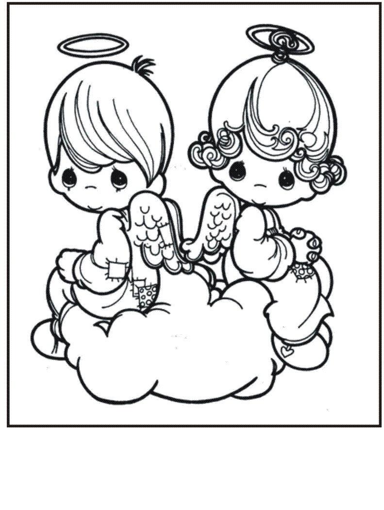 Precious Baby Angels Coloring Page