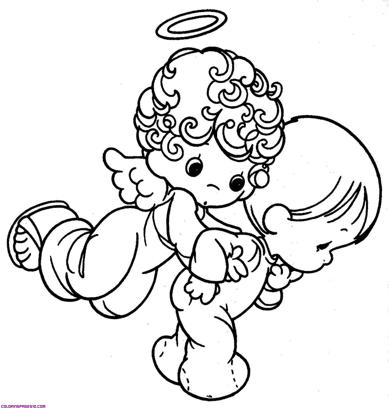 Precious Guardian Angel Coloring Pages