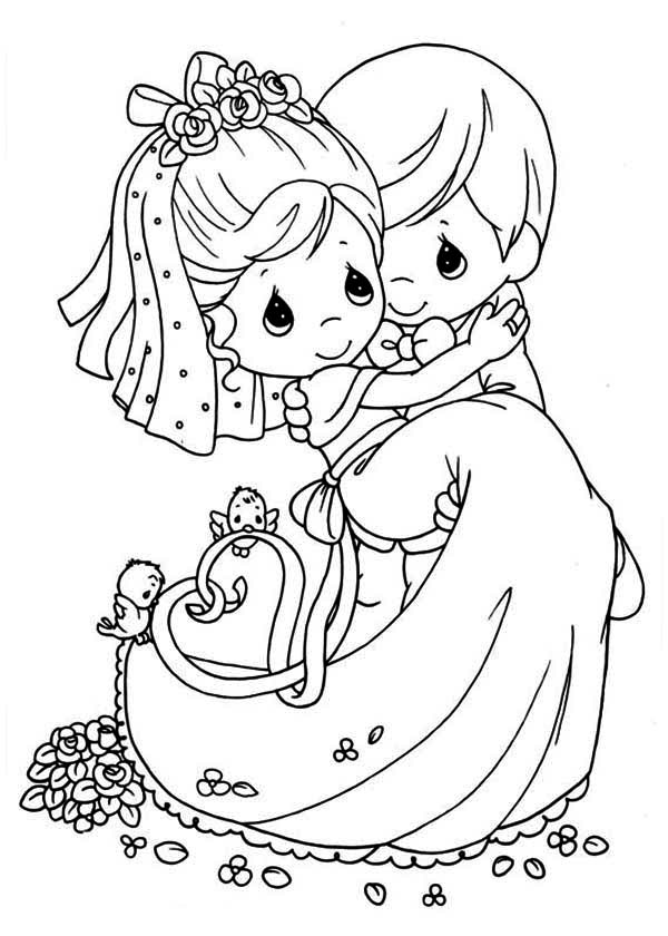 Precious Wedding Couple Coloring Page
