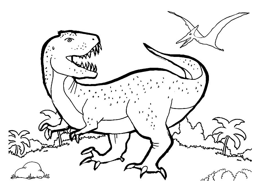 Prehistoric T-Rex Scene Coloring Page