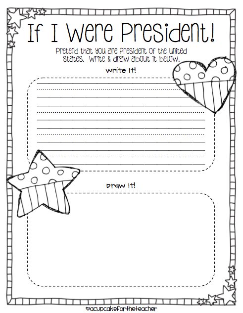 Presidents Day Writing and Drawing Worksheet