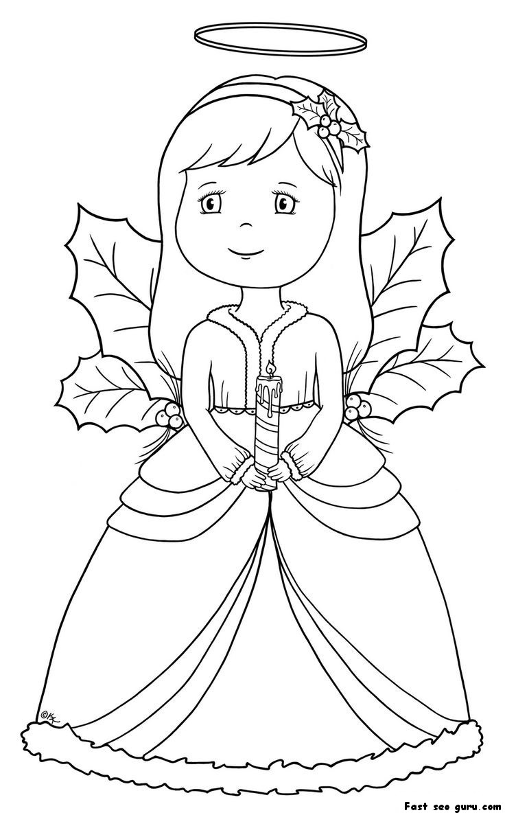 Pretty Christmas Angel Coloring Page