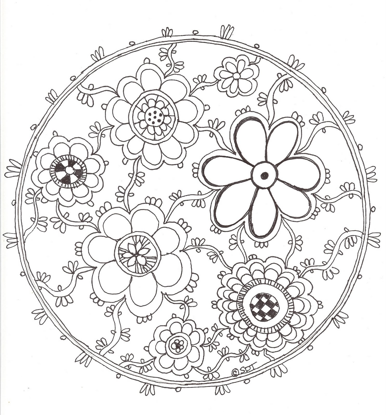 Pretty Flower Drawing Mandala Coloring Pages