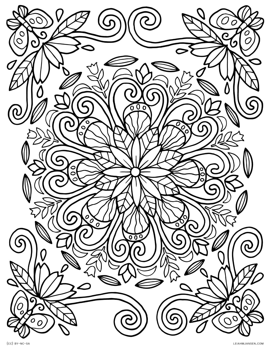 Pretty Flower Mandala Coloring Pages