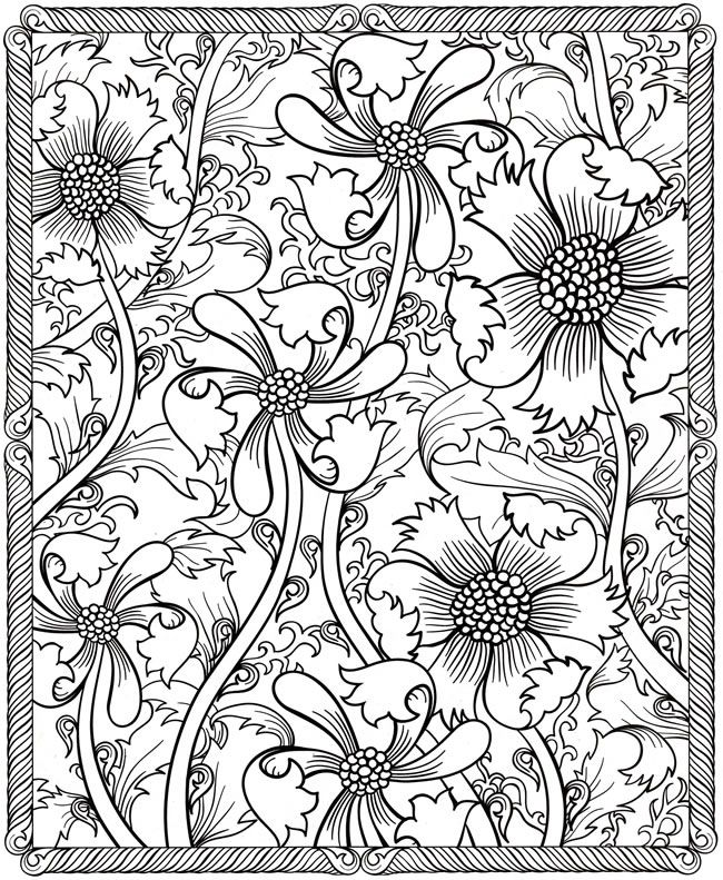 Pretty Flowers Coloring Page for Adults