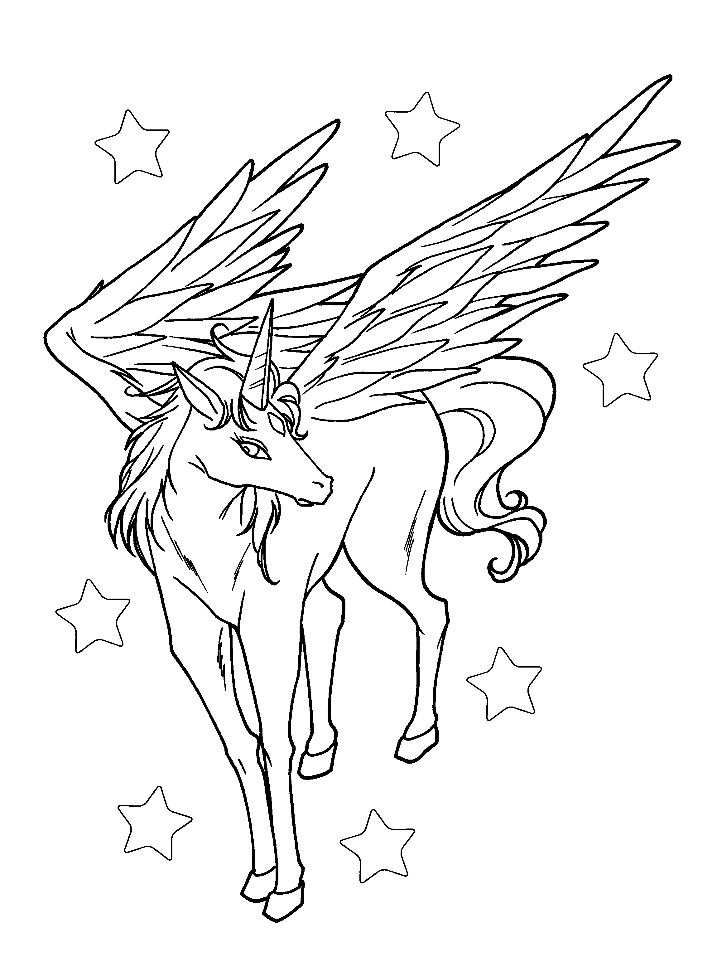 Pretty Unicorn with Wings in the Star Coloring Page