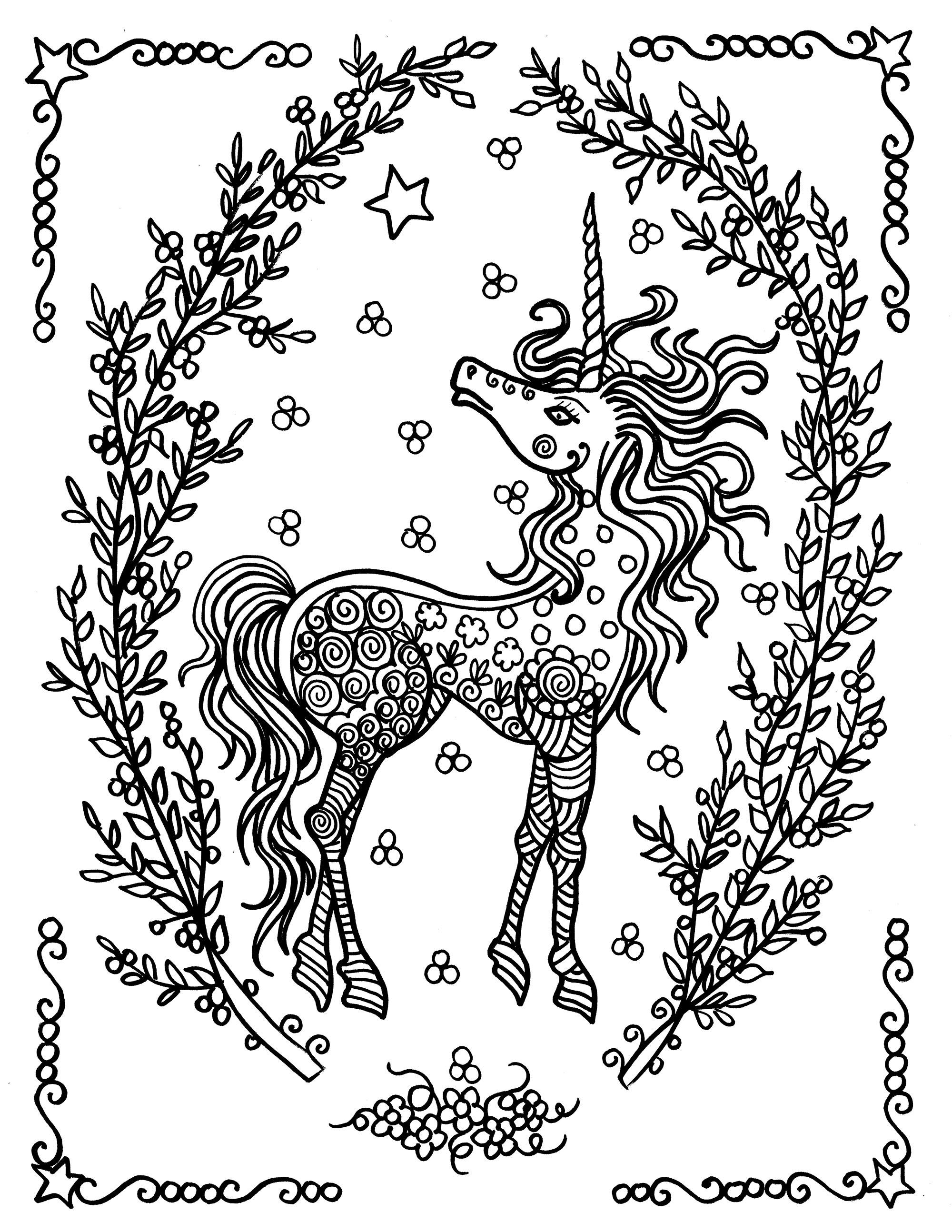 Pretty Unicorn and Flowers Coloring Page Design