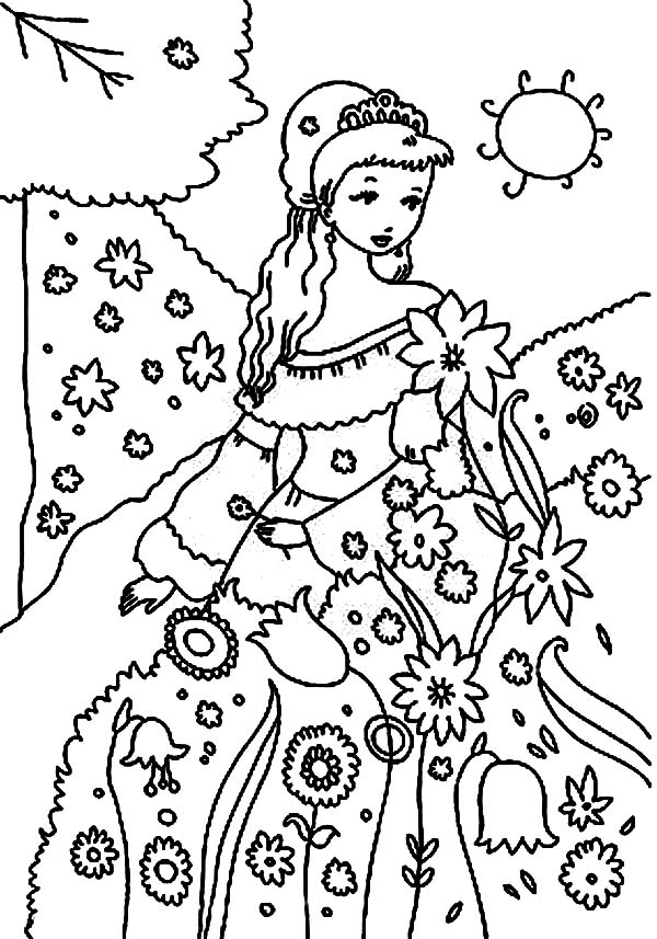 Princess in the Garden Coloring Page