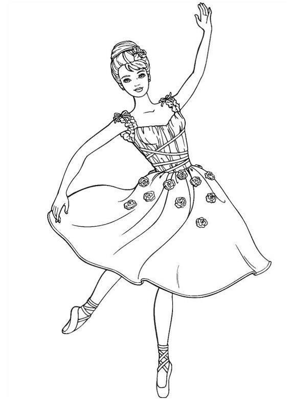 Printable Barbie Ballerina Coloring Pages