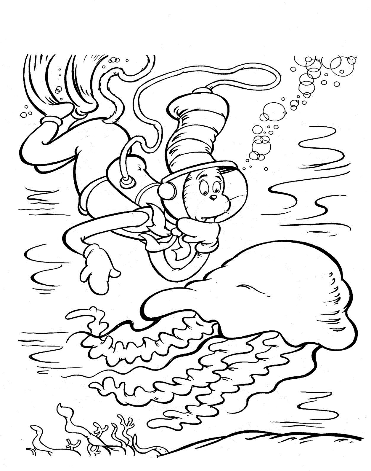 Printable Cat in the Hat Coloring Page