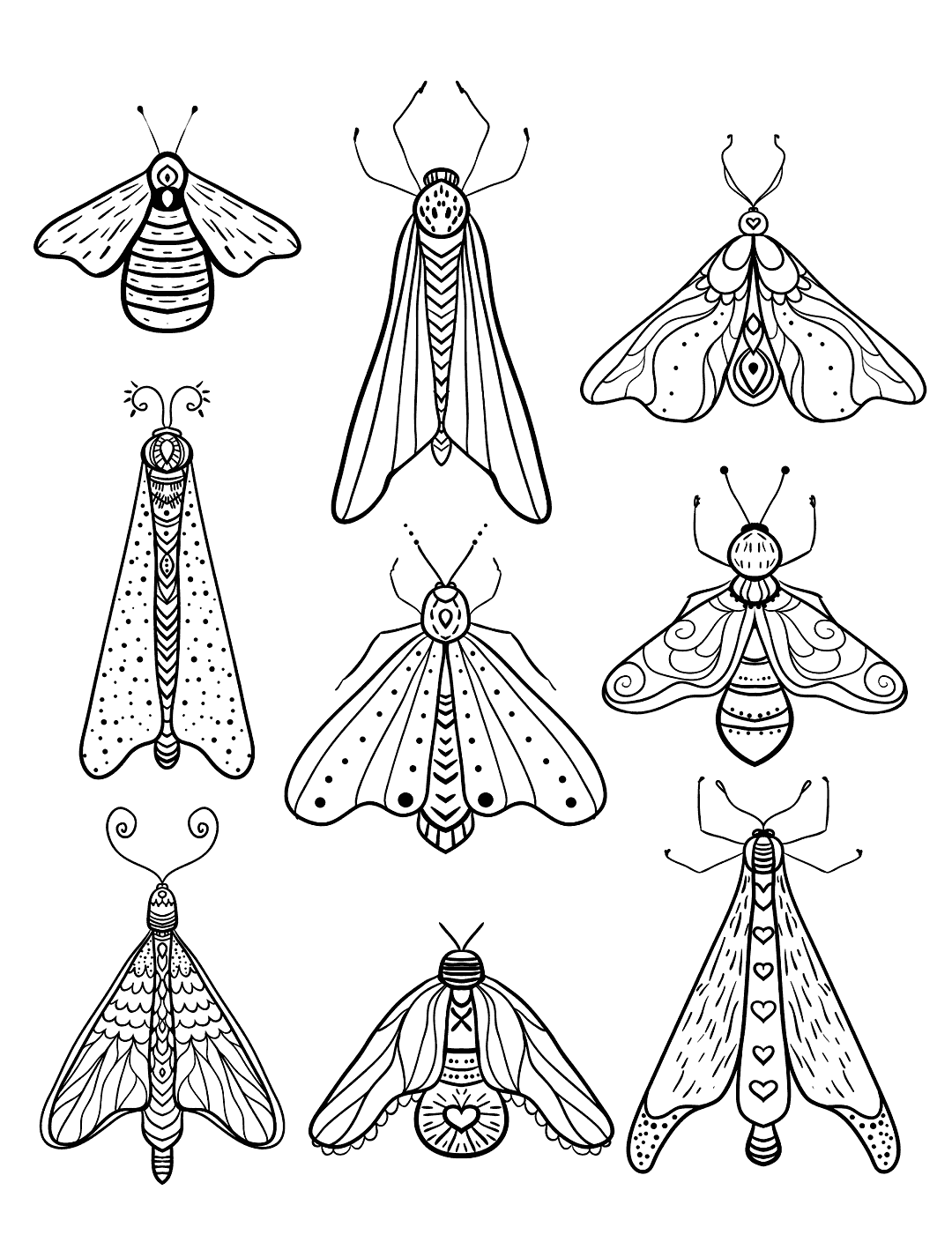 Printable Insects Coloring Page