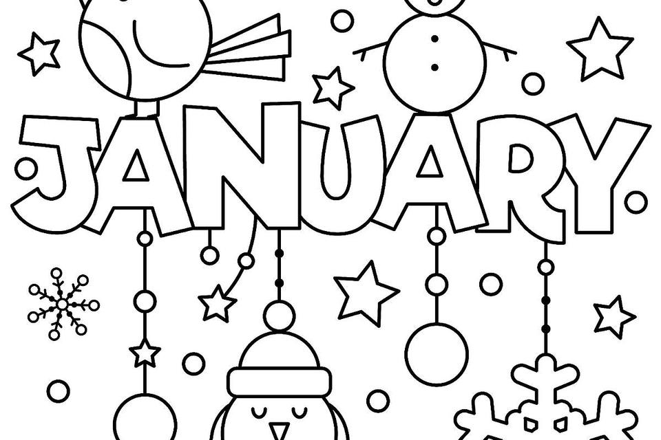 Printable January Coloring Pages