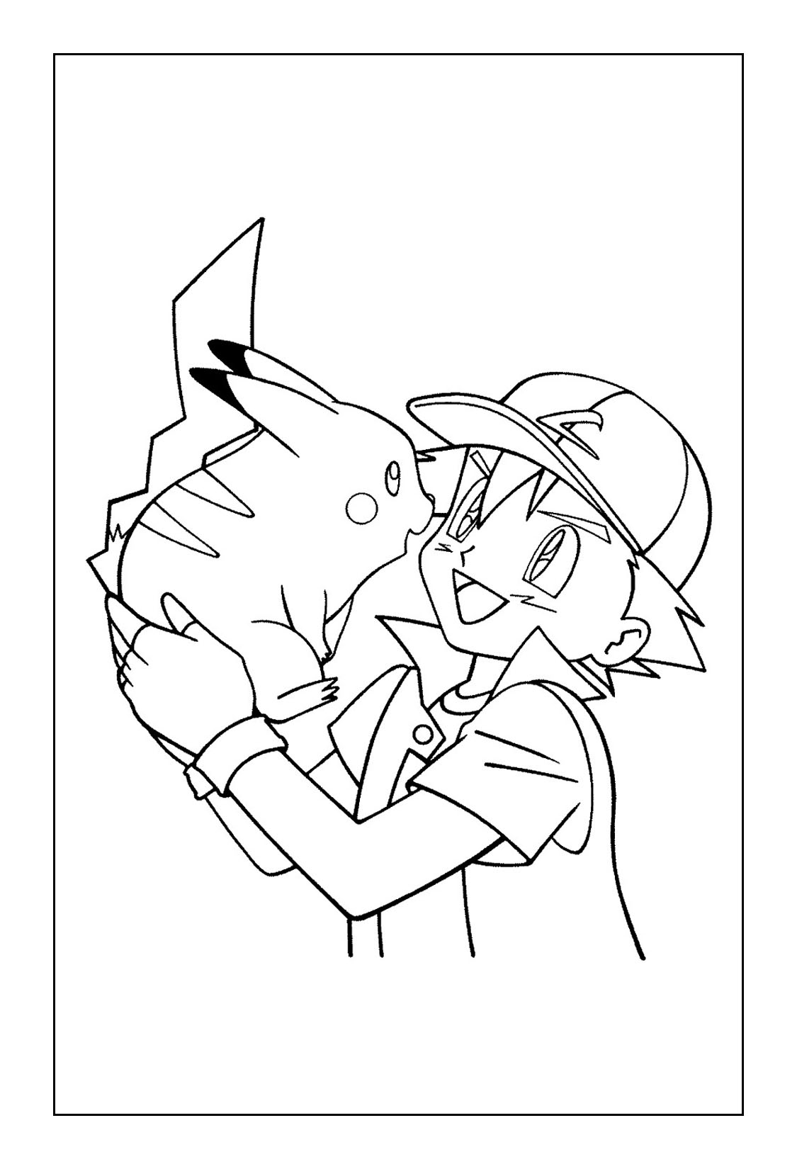 Printable Pikachu Coloring Pages - Ash and Pikachu