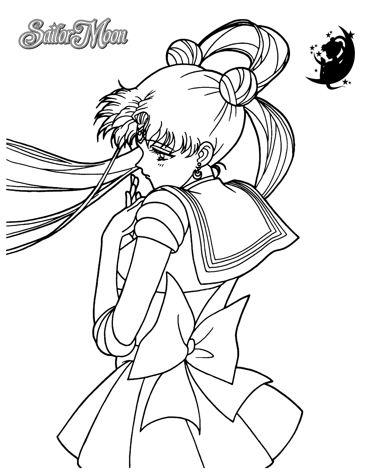 Sailor moon anime coloring pages for kids, printable free | 1584x1224