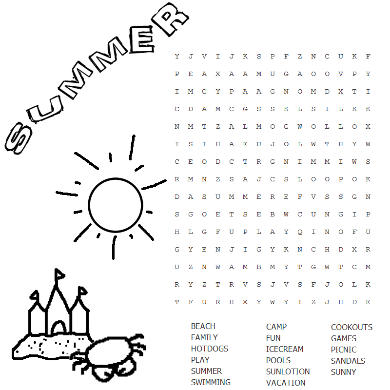 photograph about Summer Word Search Printable named Summertime Term Seem coloring.rocks!