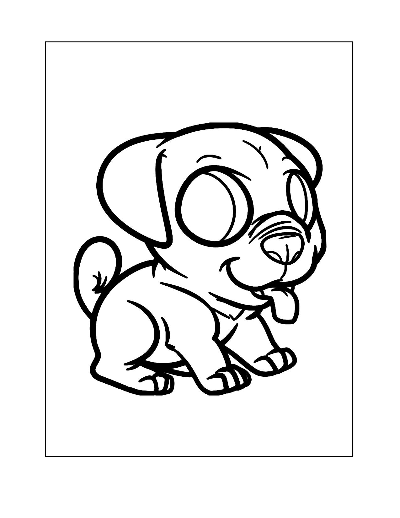 Pug Cartoon Coloring Page