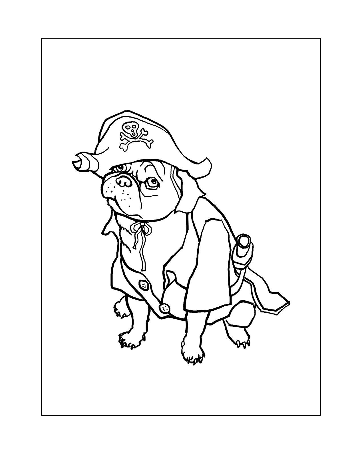 Pug In Pirate Costume Coloring Page