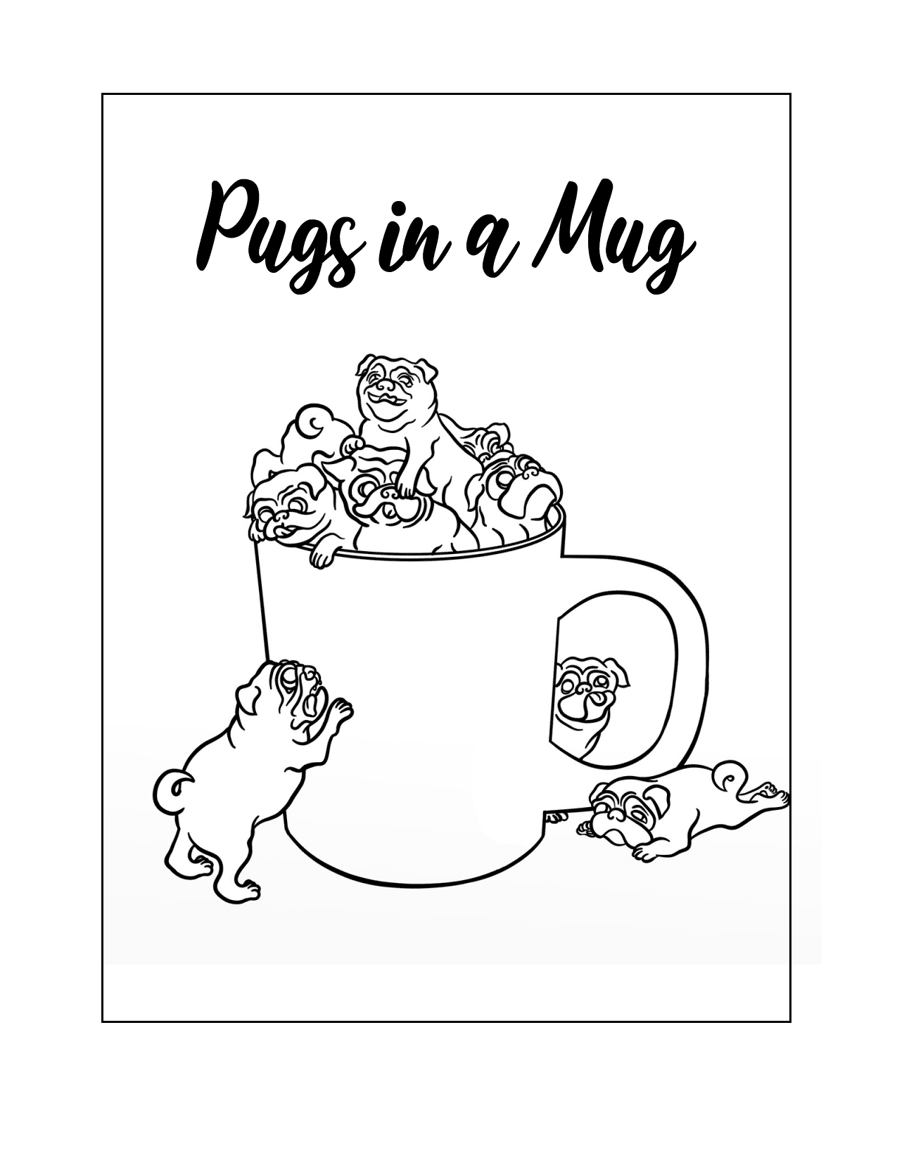 Pugs In A Mug Coloring Page