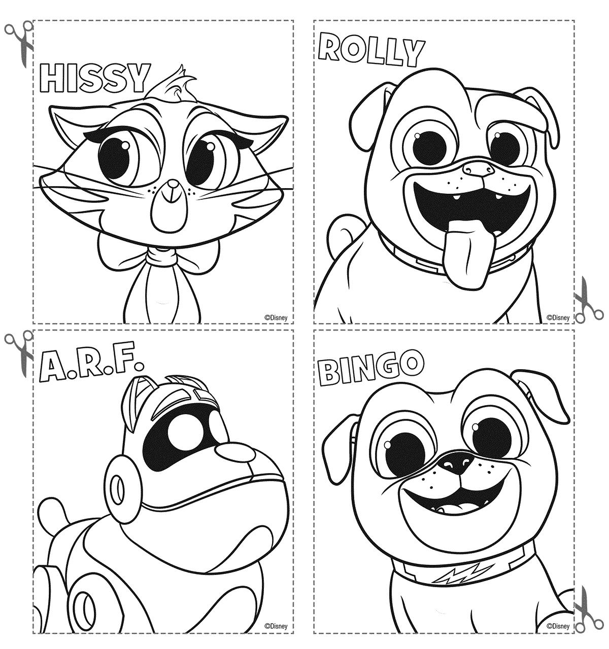 Puppy Dog Pals Coloring Cutout Sheet