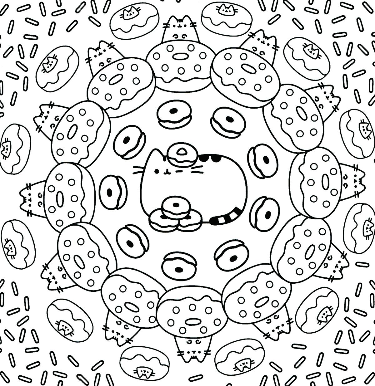 - Pusheen Cat Donut Pattern Coloring Page – Coloring.rocks!