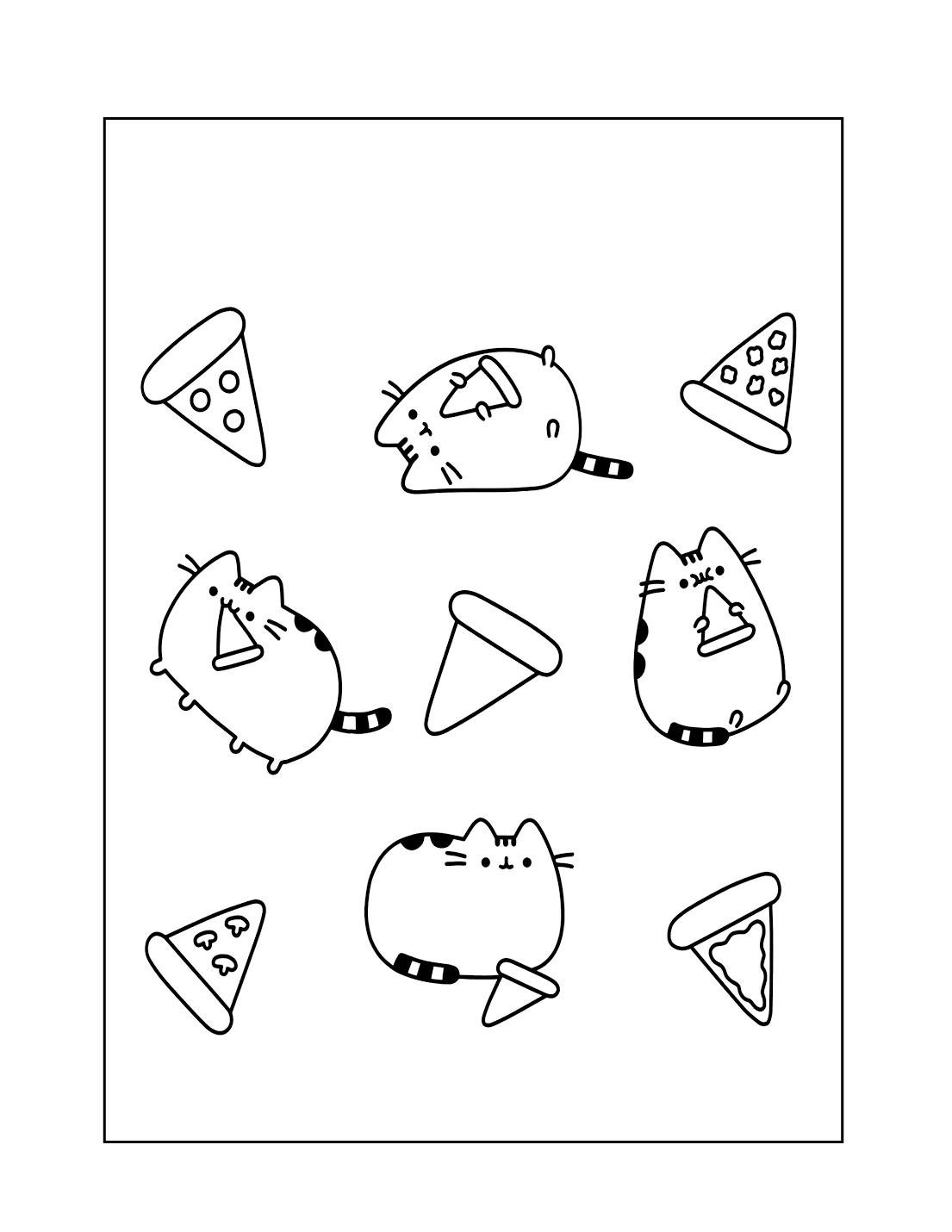 Pusheen Pizza Coloring Page