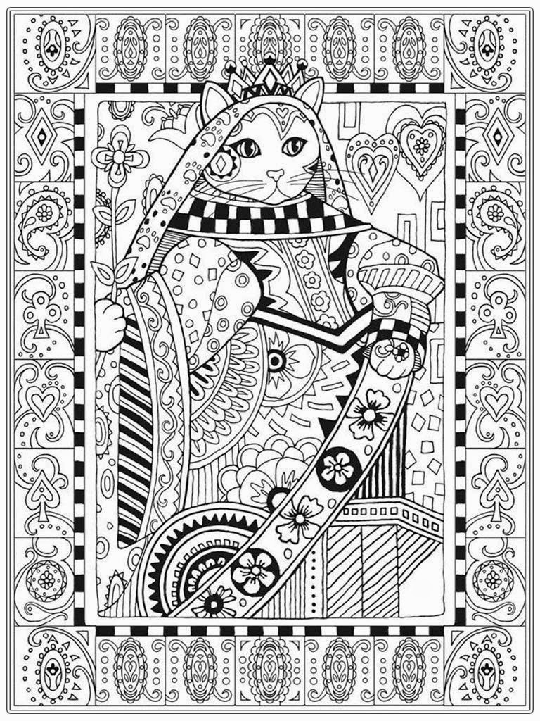 Queen Cat Coloring Pages for Adults