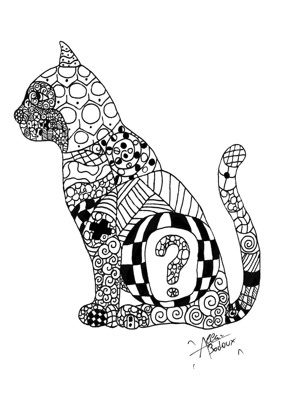 Question Cat Detail Coloring Page
