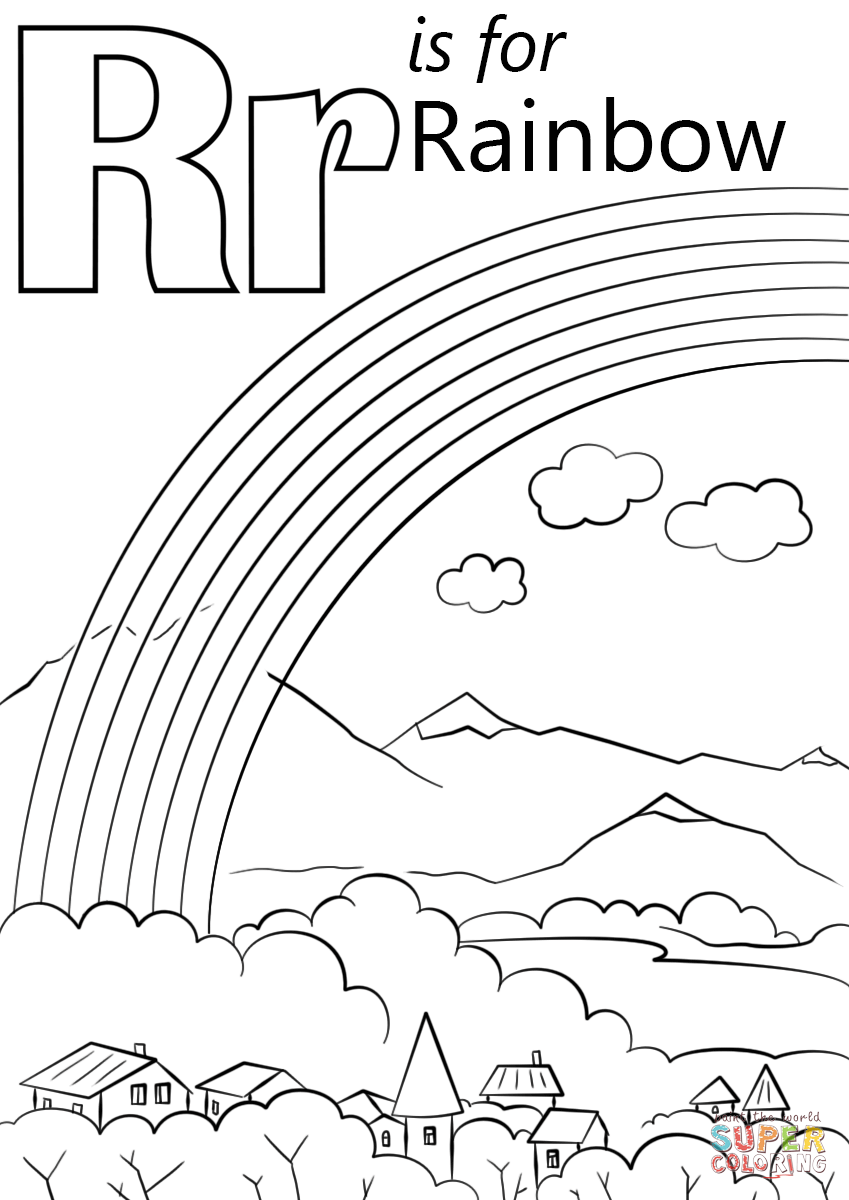 R is for Rainbow Coloring Page Printable