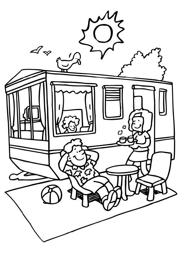 RV Camping Coloring Page