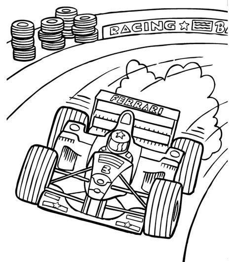 Race Car on Track Coloring Page