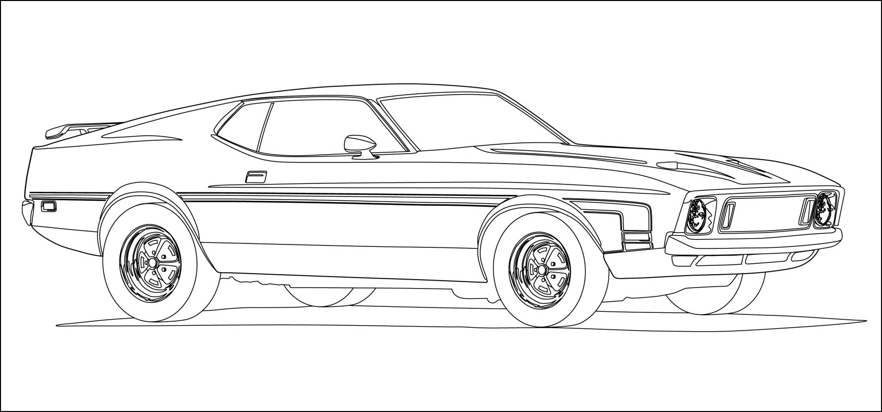 Racecar Coloring Pages - Mustang