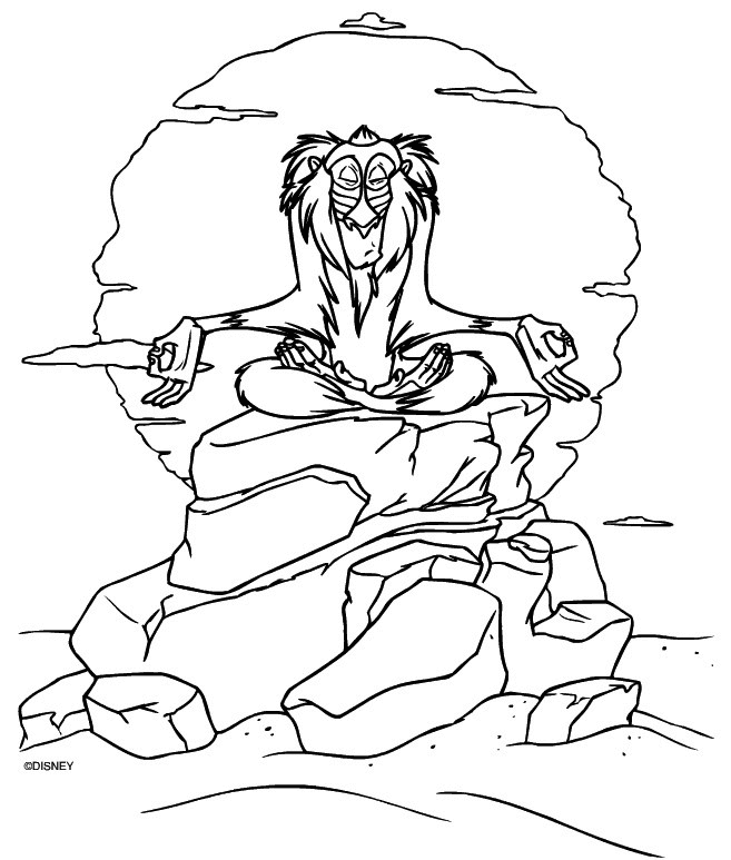 Rafiki Coloring Page Lion King