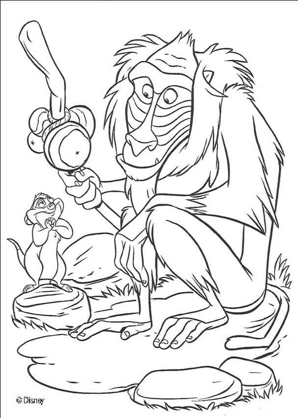 Rafiki Lion King Coloring Page