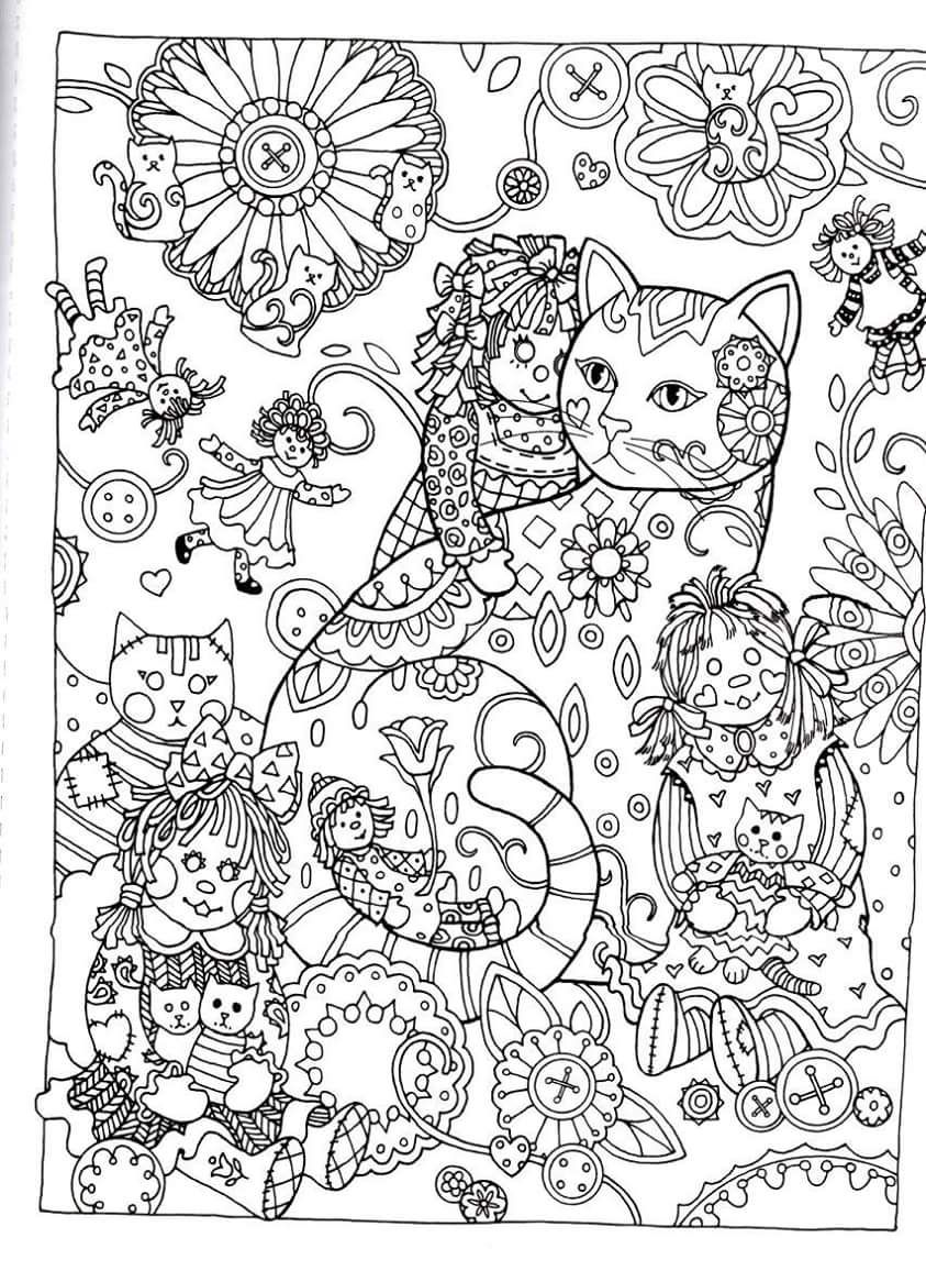 Ragdolls and Cats Coloring Page for Adults