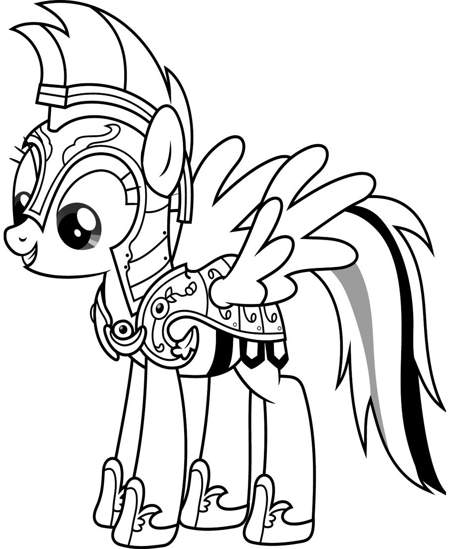 Rainbow Dash Armor MLP Coloring Pages