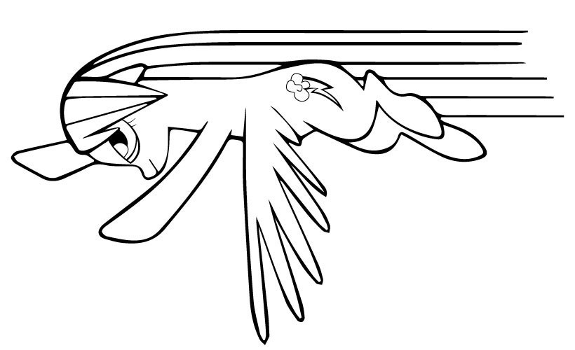 Rainbow Dash Attack Coloring Page