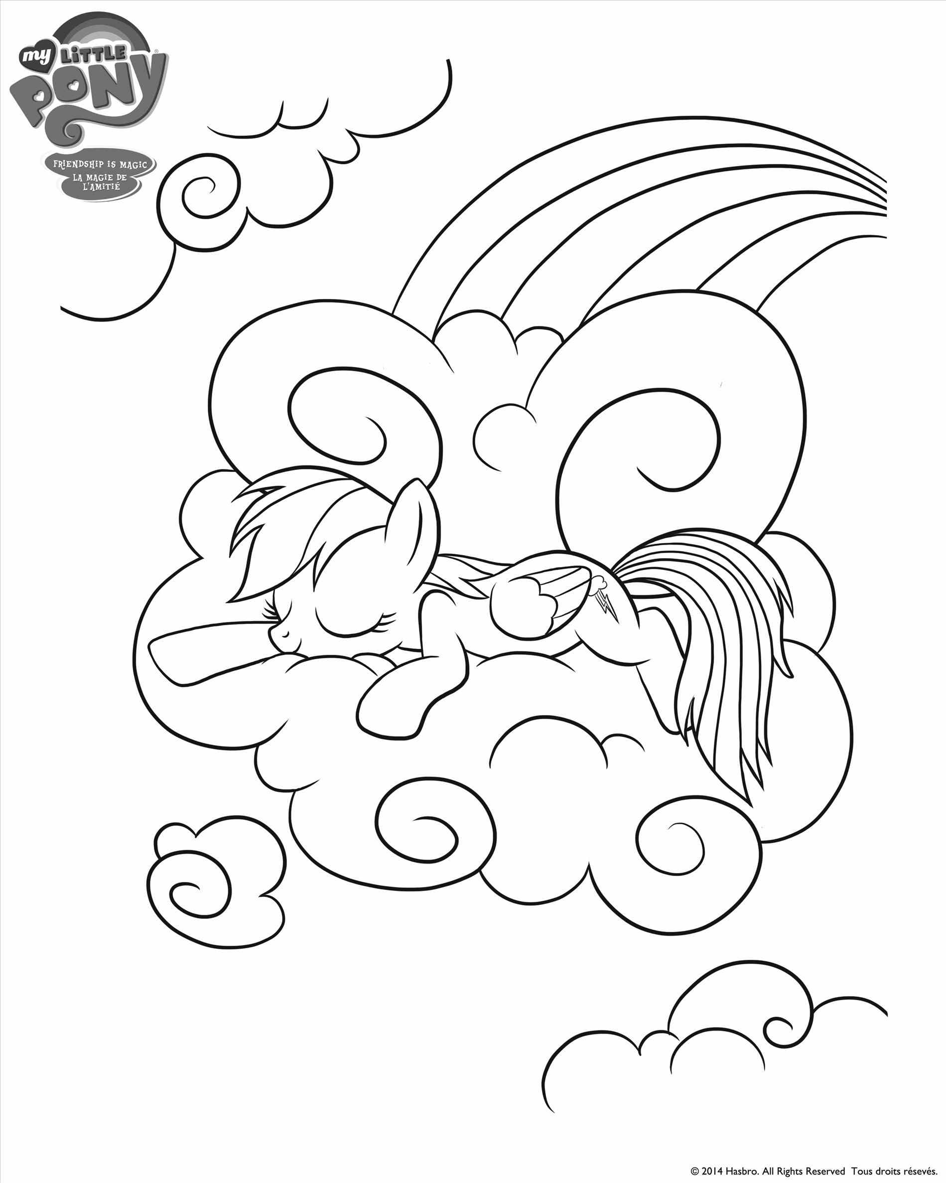 Rainbow Dash Sleeps on A Cloud Coloring Page