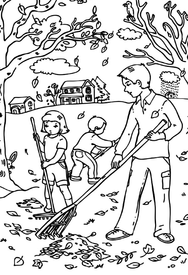 Raking Leaves in Fall Coloring Page